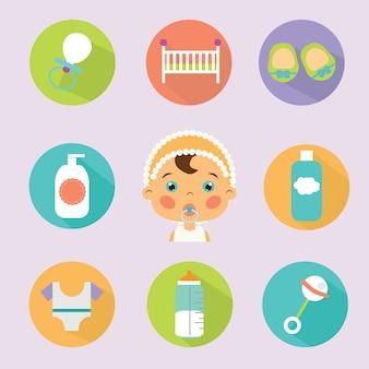 Jeu d'icônes vectorielles plat de soins bébé