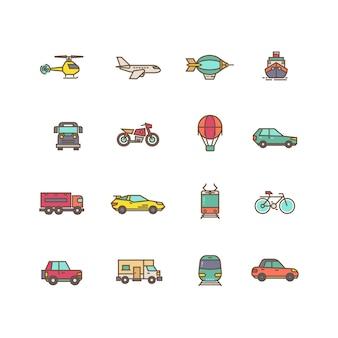 Jeu d'icônes vectorielles plat transport