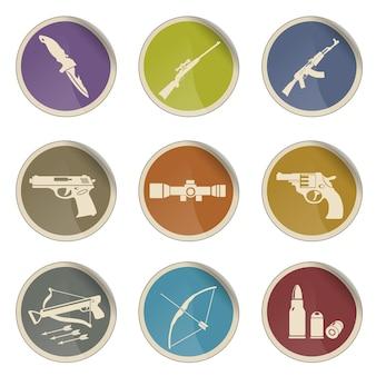 Jeu d'icônes vectorielles simples de symboles d'armes