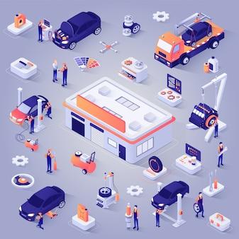 Jeu d'icônes vectorielles en voiture service isométrique projection
