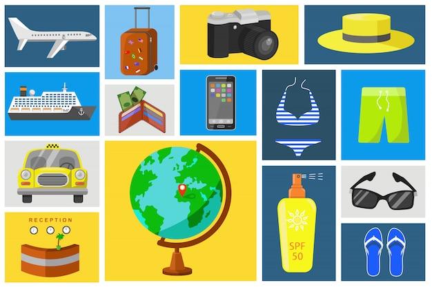Jeu d'icônes vectorielles en voyage