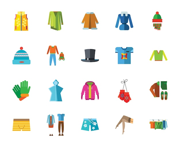 Jeu d'icônes de vêtements