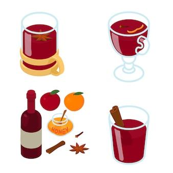 Jeu d'icônes de vin chaud, style isométrique
