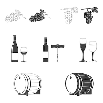 Jeu d'icônes de vin