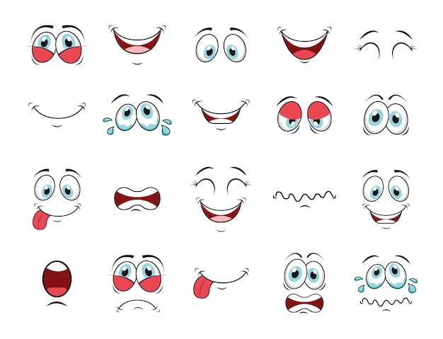 Jeu d'icônes visage cartoon
