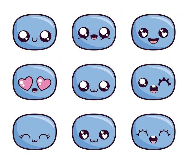 Jeu d'icônes de visage de dessin animé kawaii à l'intérieur d'ovales