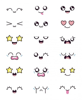Jeu d'icônes de visage de dessin animé kawaii isolé