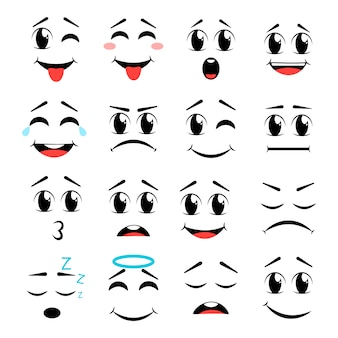 Jeu d'icônes de visage de dessin animé