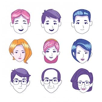 Jeu d'icônes de visages d'enfants femmes et personnes âgées