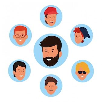 Jeu d'icônes de visages d'hommes de dessin animé