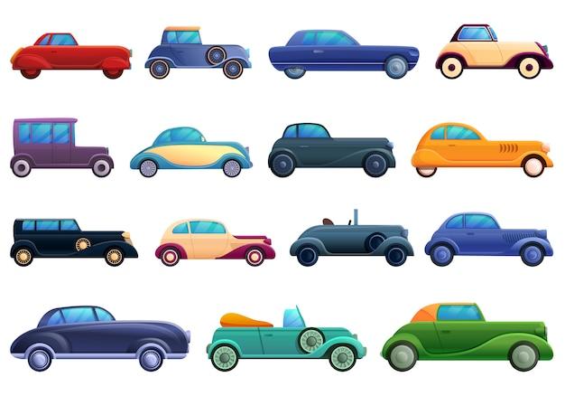 Jeu d'icônes de voiture ancienne, style cartoon