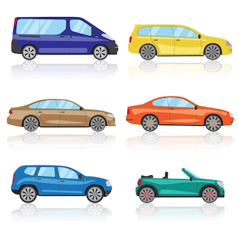 Jeu d'icônes de voitures. 6 icône de voiture de sport 3d colorée différente. vecteur