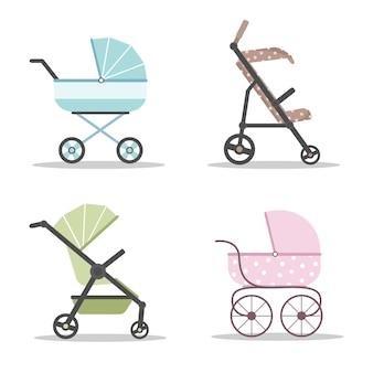 Jeu d'icônes de voitures de bébé. landaus colorés sur fond blanc.