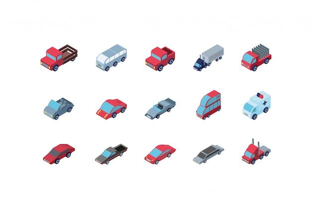 Jeu d'icônes de voitures isométriques isolées