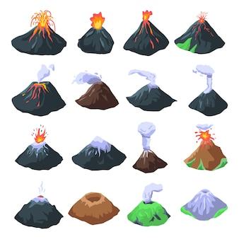 Jeu d'icônes de volcan, style isométrique