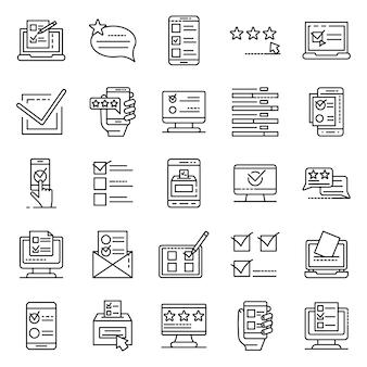 Jeu d'icônes de vote en ligne, style de contour