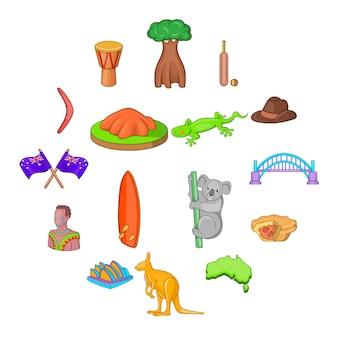 Jeu d'icônes de voyage en australie, style cartoon