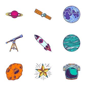 Jeu d'icônes de voyage dans l'espace. ensemble dessiné à la main de 9 icônes de voyage dans l'espace