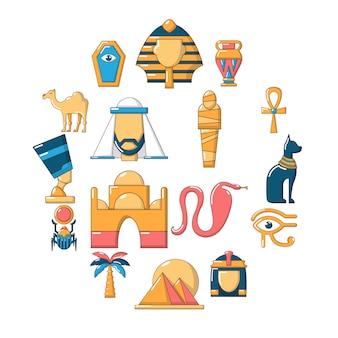 Jeu d'icônes de voyage en egypte, style cartoon