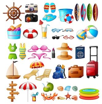 Jeu d'icônes de voyage et d'été vacances