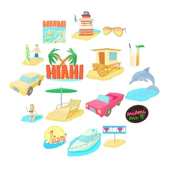 Jeu d'icônes de voyage à miami, style cartoon