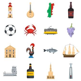 Jeu d'icônes de voyage portugal