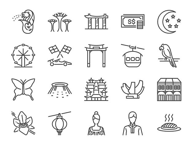 Jeu d'icônes de voyage de singapour.