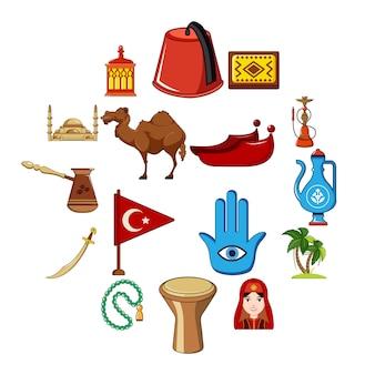 Jeu d'icônes de voyage turquie, style cartoon