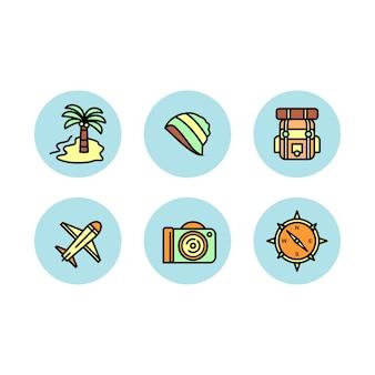 Jeu d'icônes de voyage
