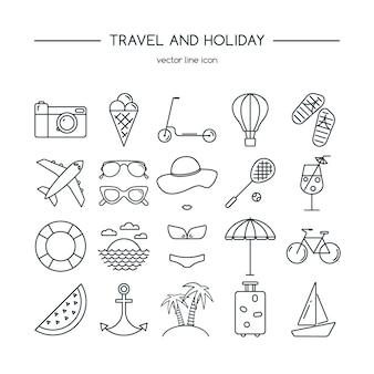 Jeu d'icônes de voyages et vacances.