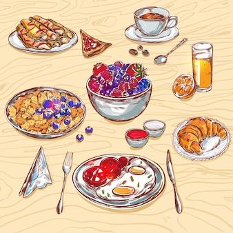Jeu d'icônes de vue petit-déjeuner alimentaire
