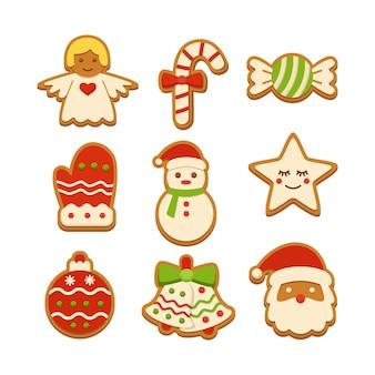 Jeu d'illustration de biscuits au pain d'épice
