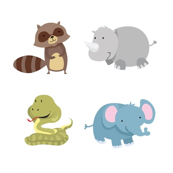 Jeu d'illustration de caractères animaux mignon