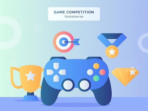 Jeu d'illustration de compétition mis joystick gaming à proximité médaille de cible de diamant trophée avec style plat.