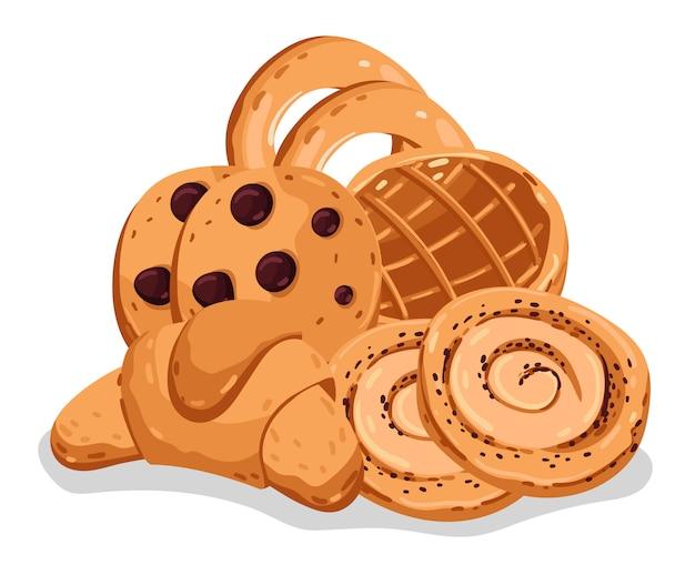 Jeu d'illustration de dessin animé isolé boulangerie pâtisserie