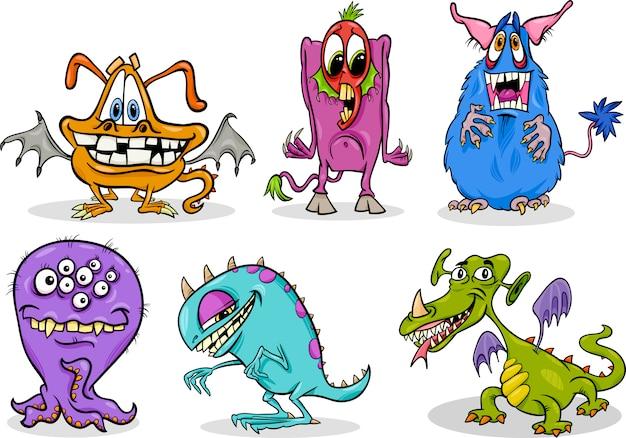 Jeu d'illustration de dessin animé monstres