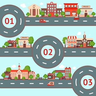 Jeu d'illustration ville infographique