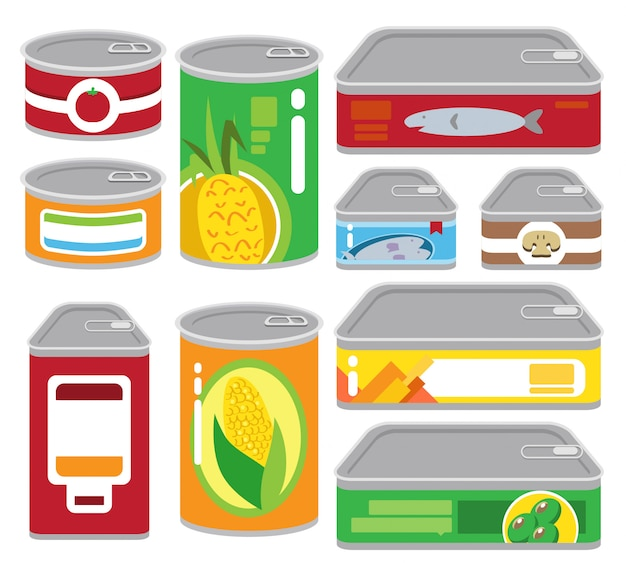 Jeu d'illustrations d'aliments en conserve