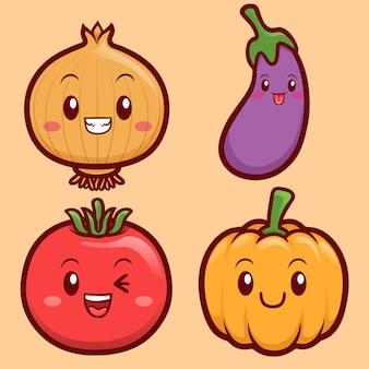 Jeu d & # 39; illustrations de caractère légumes drôles et mignons