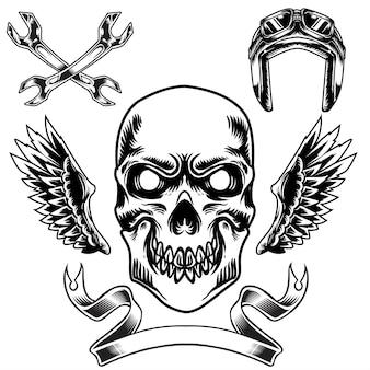 Jeu d'illustrations de crâne pour des trucs de course ou des marchandises de club de moto