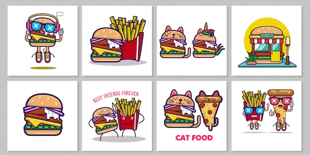Jeu d'illustrations fastfood