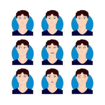 Jeu d'illustrations homme brune. jeune homme aux cheveux noirs, garçon en style cartoon, visages, portraits avec différentes expressions faciales et émotions. illustration vectorielle de caractère.