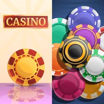 Jeu d'illustrations de jetons de casino chanceux