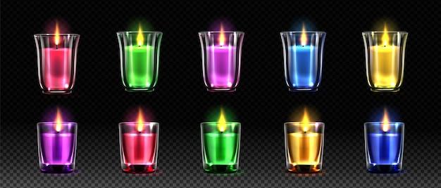 Jeu d'illustrations réalistes de bougies colorées