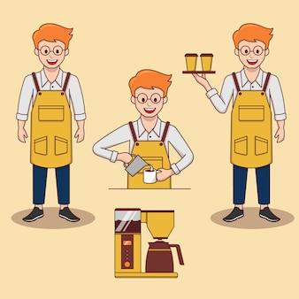 Jeu d'illustrations vectorielles barista