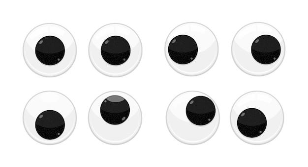 Jeu d'illustrations vectorielles de conception de style plat yeux branlants de sécurité de jouet en plastique