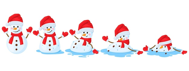 Jeu d'illustrations vectorielles de dessin animé bonhomme de neige fondu