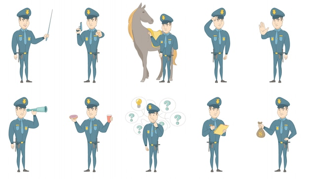 Jeu d'illustrations vectorielles de jeune policier caucasien