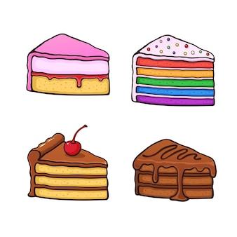 Jeu d'illustrations vectorielles un morceau de gâteaux en style cartoon avec contour