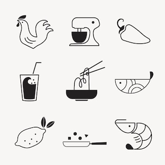 Jeu d'illustrations vectorielles de nourriture icône design plat